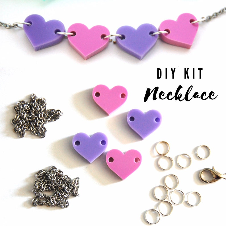 DIY Acrylic Heart Necklace Kit image 0