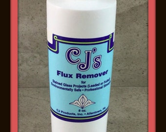 CJ's Flux and Patina Remover, 8 oz. Bottle, For Cleaning Up Any Glass Project After Soldering, Can Ship International