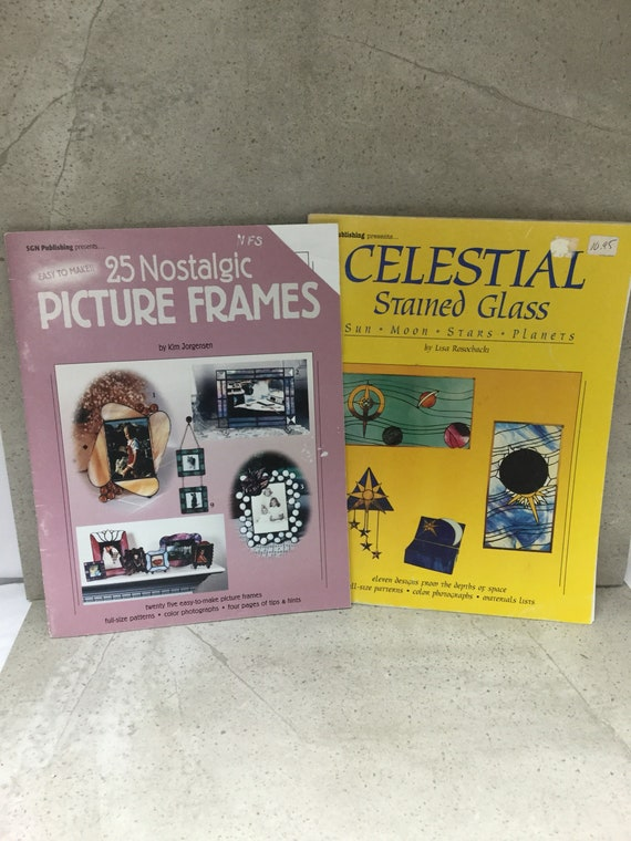 2 Used Stained Glass Pattern Books 25 Picture Frame Patterns Etsy