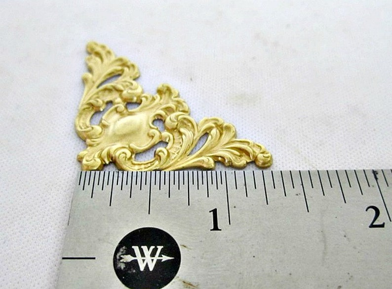 Ful A2016 Set of 4 Raw Brass Filigree Corners Art Nouveau  Victorian Vintage Inspired