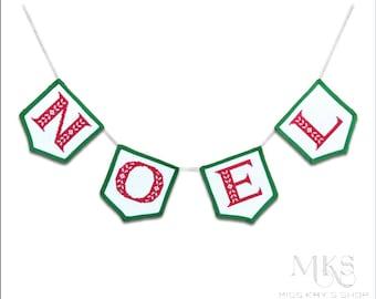 Christmas Cross Stitch - Noel Flag Banner - Instant Download