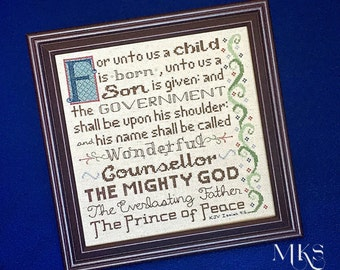 Christmas Cross Stitch Pattern - Isaiah 9:6 - For Unto Us a Child is Born - Instant Download