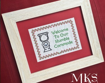 Bathroom Decor - Comical Commode Cross Stitch Pattern - Instant Download
