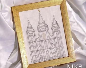 Salt Lake Temple  - Cross Stitch Pattern - Instant Download