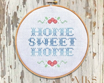 Home Sweet Home - Ombre Cross Stitch Pattern - Instant Download