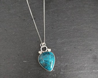 Chrysocolla Necklace - Gemstone Necklace - Blue Green Necklace - Turquoise Necklace - Silver Necklace - Aqua Necklace