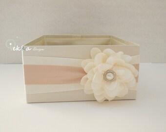 Wedding Program Box / Amenities Box / Program Holder / Open Box / Bubble box / Advice box / favor box (Ivory & Champagne/Tan)