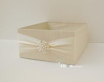Wedding Program Box / Amenities Box / wedding Program Holder / Open Box / wedding Bubble box (Ivory & Ivory) - pearl rhinestone brooch