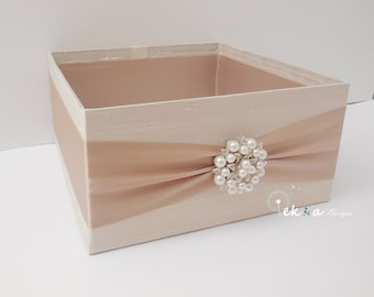 Wedding Program Box / Keepsake Box / Amenities Box / Program Holder / Bubble box / Wedding favor holder (Ivory & Champagne/Tan) - rhinestone