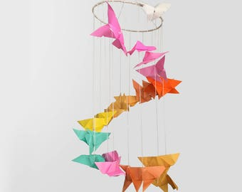 Rainbow Origami Butterfly Mobile
