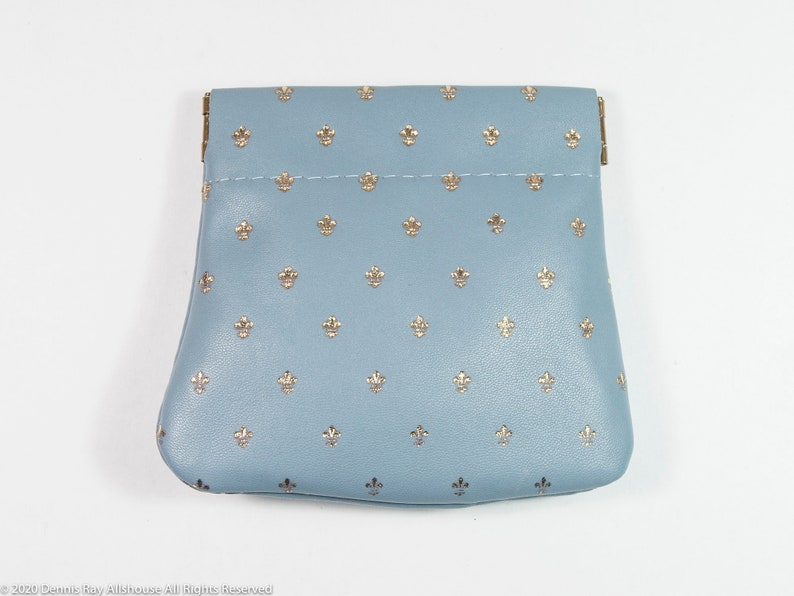 Vintage Florentine blue leather coin purse in like new condition made in Italy light blue leather with gold detail