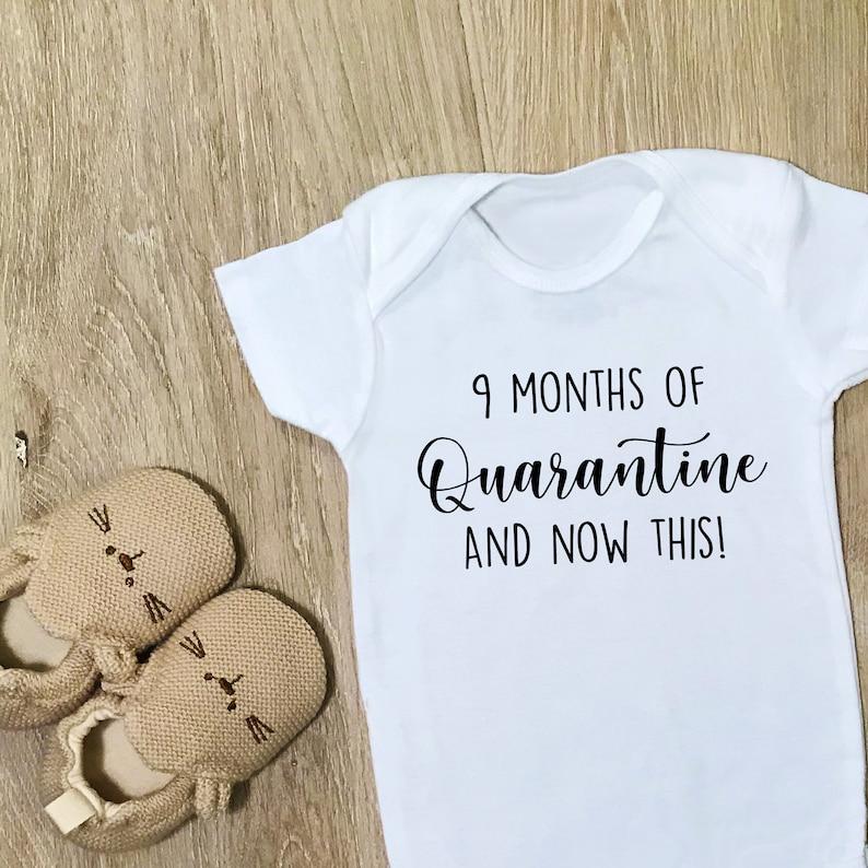 Funny Coronavirus Shirt Funny Baby Baby Bodysuit Onesie 9 Months of Quarantine and Now This! Gift Quarantine Baby Gift