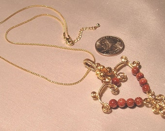 Goldstone  Wire Heart Necklace