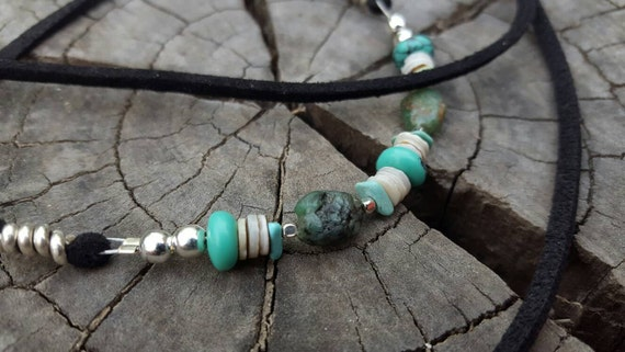 Shell Emerald Turquoise and Silver Wrap Bracelet