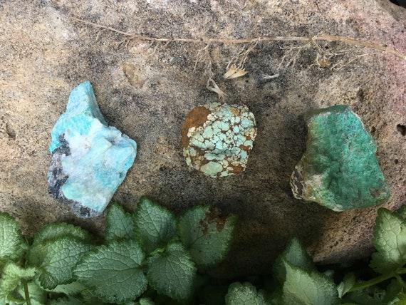 Turquoise Amazonite and Chrysocolla Raw Gemstones