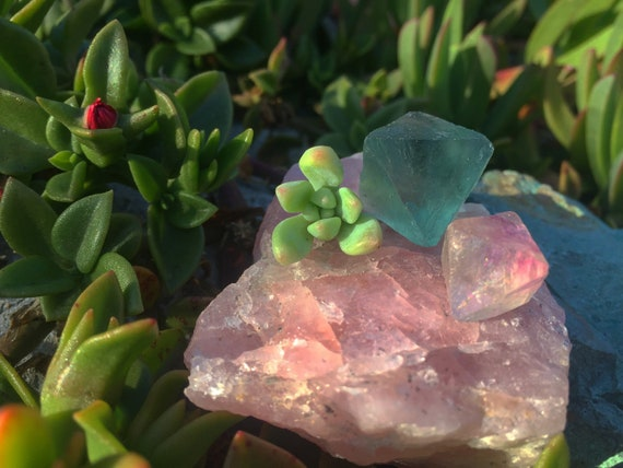 Teal and Pink Fluorite Crystal Set