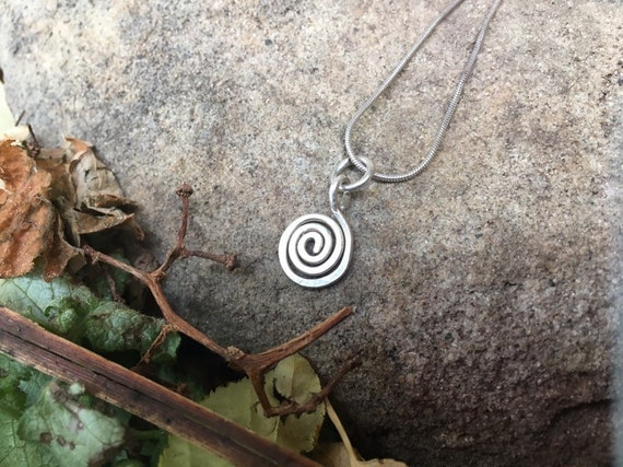Small Silver Spiral Necklace- Sterling Silver Charm and Snake chain