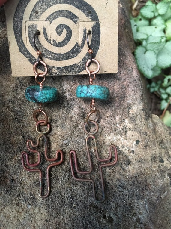 Copper and Turquoise Cacti Earrings
