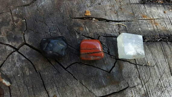 Lava Rock, Calcite, and Red Jasper Gem Parcel