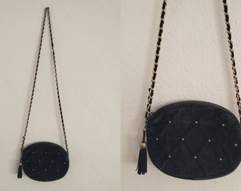 Black and Gold Suede Crossbody Purse. Black and Gold Crossbody Purse. Suede Crossbody Purse. Vintage Crossbody Purse. Vintage Purse.