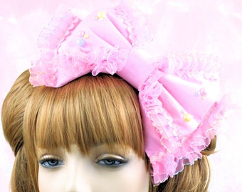 Lolita head bow-pink bow-cabochons-fairy kei-kawaii-kawaii bow-kawaii accessory-lolita accessory-rainbow-iridescent-hair bow-pink-headband