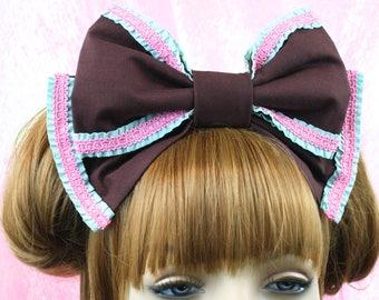 Lolita headbow-Lolita bow-sweet lolita bow-lolita hair accessory-chocolate accessory-kawaii accessory-chocolate accessory