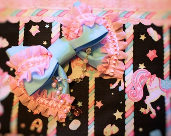 Lolita Headbow-Sweet Lolita Headbow-Rosary Bead Chain Accent-OTT Sweet Lolita Bow