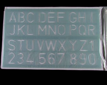 """Mead 1 1/4""""  (30mm) tall Upper case & Numbers lettering guide #98612"""