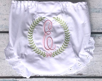 Wreath Bow Monogram Diaper Cover - Personalized Bloomer