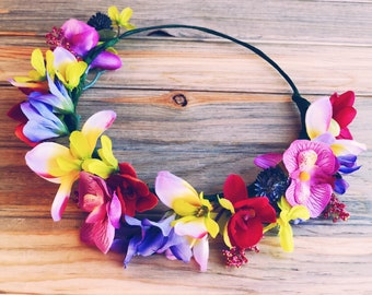 Tropical Paradise Flower Crown, Boho Floral Crown, Boho Wedding,