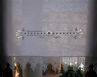 white linen curtain,linen cafe curtain, embroidered curtain, panel curtain, kitchen curtain, lace curtain 78x92 cm., 30,7x36,2 inch.