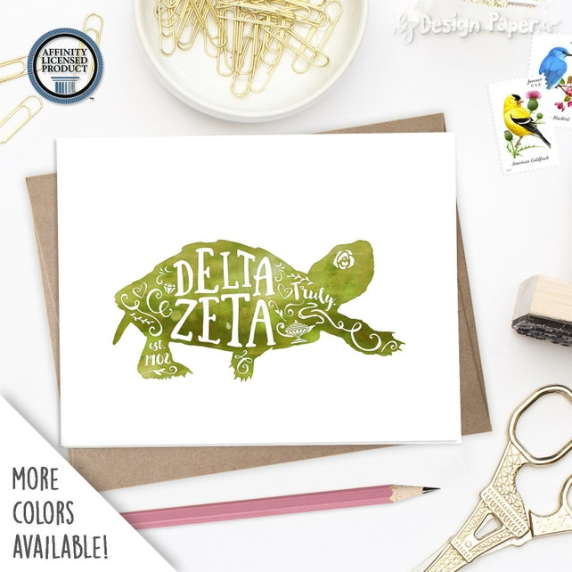 Delta Zeta DZ | Truly Turtle | Set of 8 Folded Notes | Sorority Big Little Reveal Gift | Officially Licensed | DZ-SA2