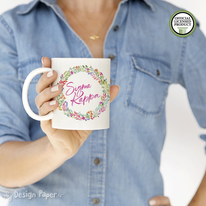 Sigma Kappa Watercolor Floral Wreath Mug Sorority Gift Big Little Reveal Birthday Graduation Initiation Christmas SK 11M WF