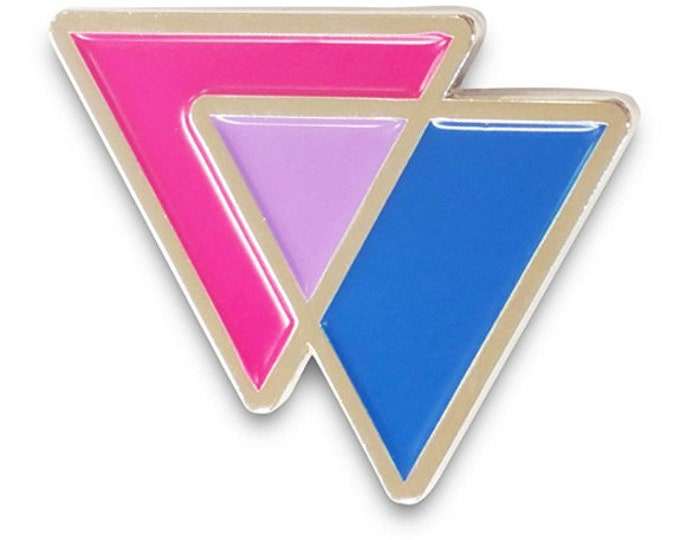 Featured listing image: Biangles Bi Triangles Blue Pink and Lavender - Enamel Lapel or Fabric Pin
