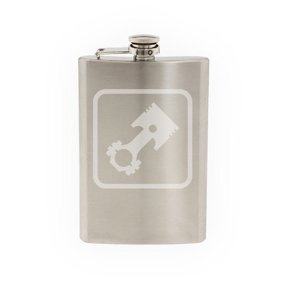 Mechanic Auto Repair #2 - Piston Engine Rebuild Car - Etched 8 Oz Stainless  Steel Flask