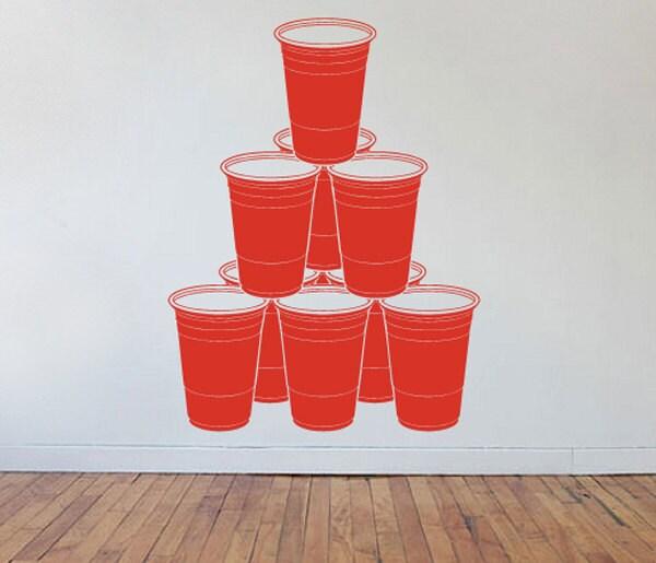 Beer Pong Chandelier Rack Formation Wall Vinyl Decorative Decal