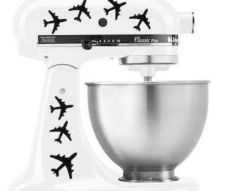 Commercial Airplane Jets in Flight Pattern - Vinyl Decal Set for Kitchen Mixers