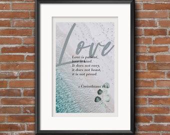 Love Bible Verse (1 Corinthians 13:4) Printable Wall Art