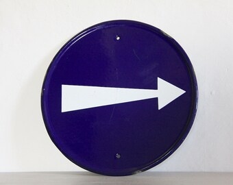 French Vintage Enamel Arrow Sign Wall Hanging Man Cave
