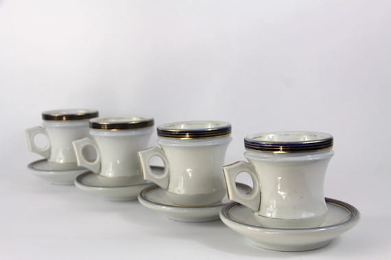 Antique French Coffee Cups and Saucers. Brulot Bistro Style Authentic Heavy Set of 4