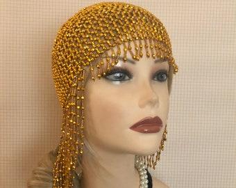 1920s style FULLY Beaded Bright Gold Fringe FLAPPER Head cap skull  headpiece Gatsby Roaring Twenties Art Deco Bead Tassel Headwear Headdress ff49ec8442dd