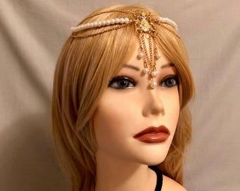 Gold Leaf Hair Chains Clips Headpiece Vintage 1920s Grecian Flapper Roman U19