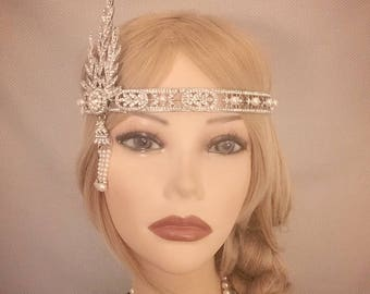 The Great Gatsby Replica 1920's inspired silver Rhinestone costume 20s flapper headband art deco 1920 wedding headpiece bridesmaid Halloween
