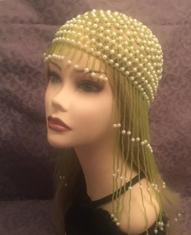 da7a7faa966 1920s style FULLY Beaded Green White Fringe FLAPPER Head cap