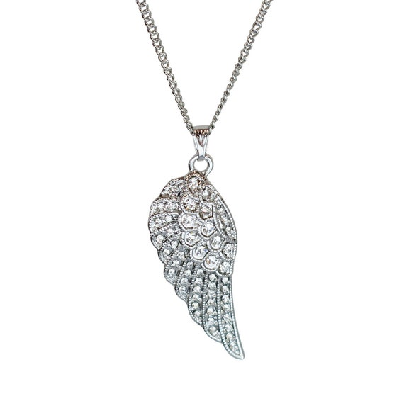 Mariana Guardian Angel March Birthstone Pendant Necklace Silver Plated