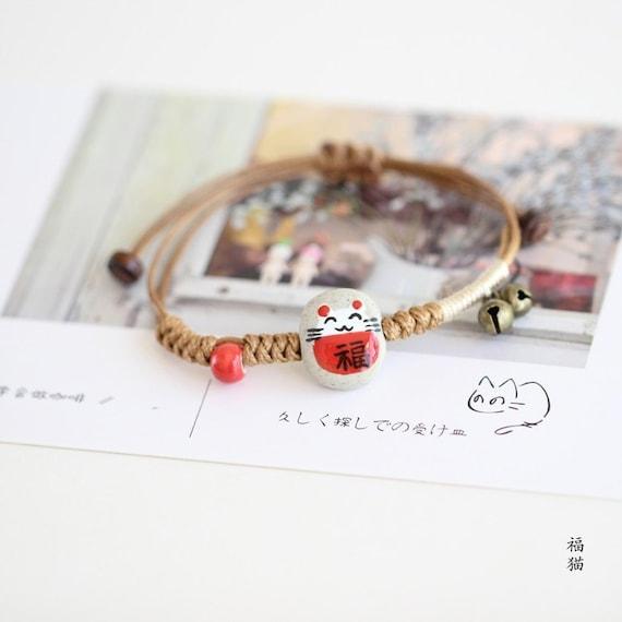Feng Shui Lucky Ceramics Cat Maneki Neko Fortune Good Luck Wealth Bracelet