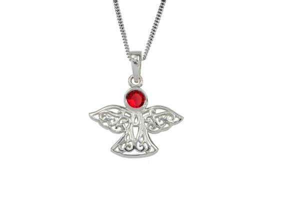 birthday necklace pendant month of year JUNE Celtic birthstone angel