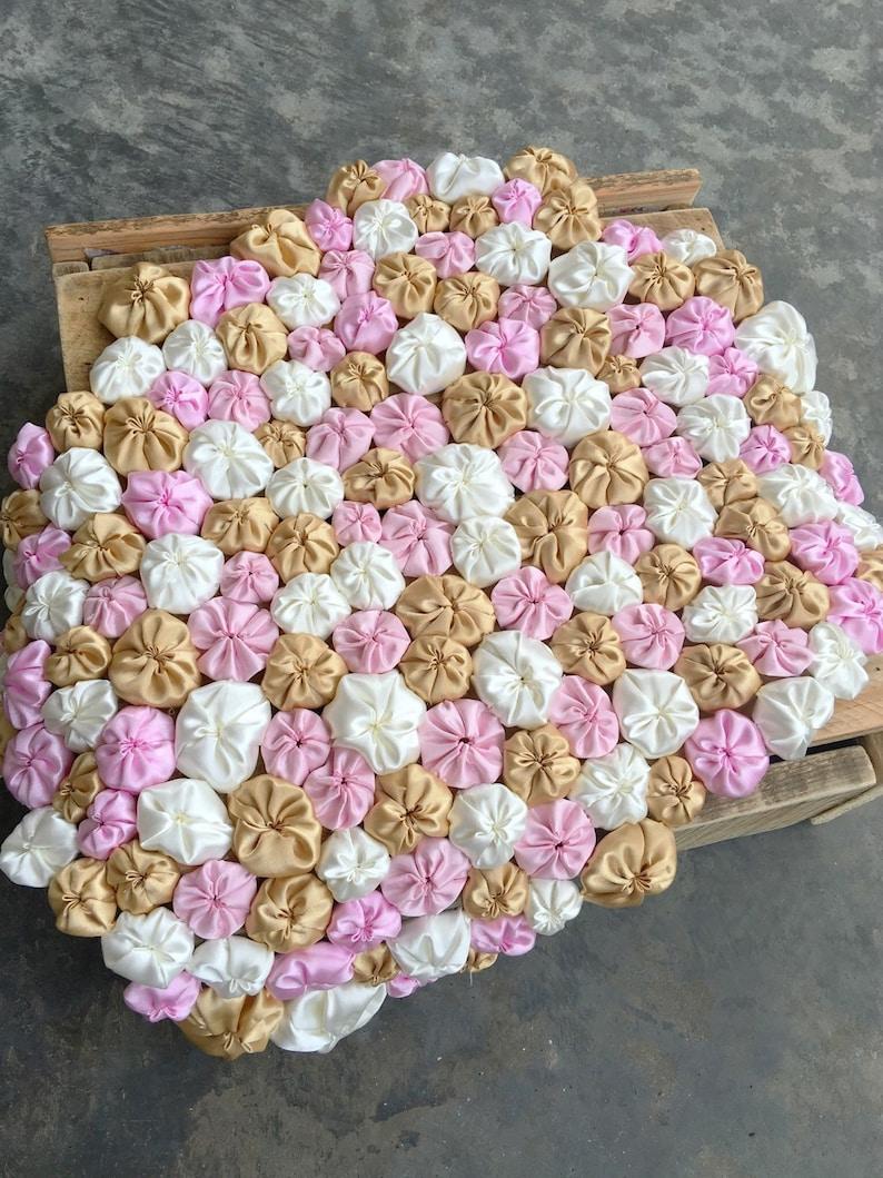 Gold Pink Satin Flower Layering Blanket Ivory