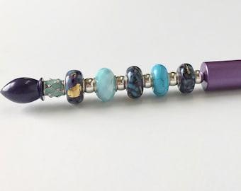 Glass beaded ballpoint metal pen in Ultra Violet, ballpoint pen, glass beaded pen, metal pen, signature pen, pen ballpoint, purple pen