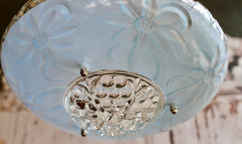 Hobnail Glass Bird Feeding Dish with Hanging Chains.